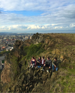 Students on Arthurs Seat in Edinburgh
